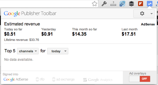What the Google Publisher Toolbar looks like. Click the button on the top right of the browser and this pops up.