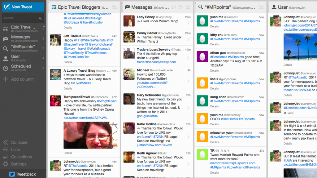 Example of my Tweetdeck columns.