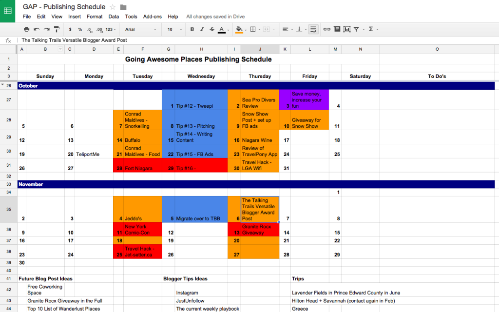 Sample Google Sheets calendar to manage blog