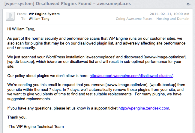 E-mail I received from WP Engine telling me about some bad plugins I had installed.