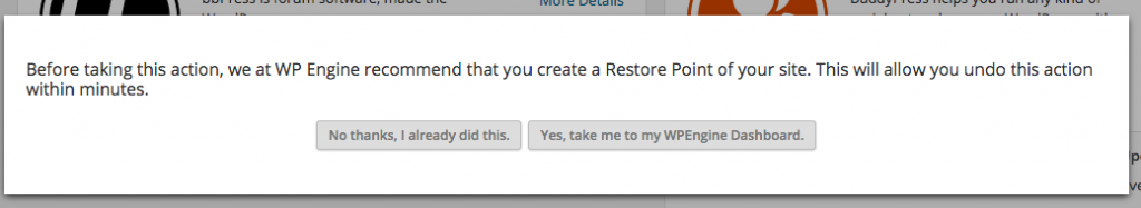 A simple note that pops up every time you install a new plugin or do an update.
