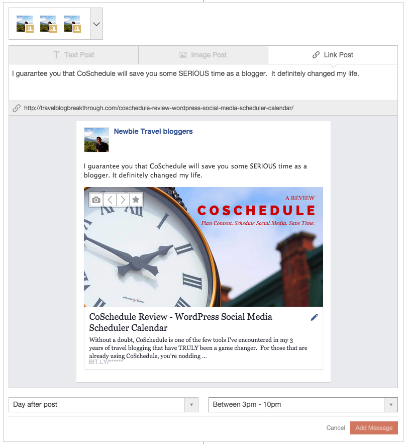 CoSchedule Sample Facebook Group Link Post