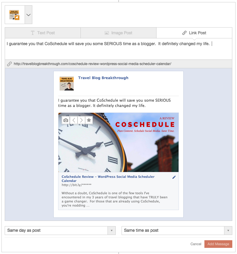 CoSchedule Sample Facebook Page Link Post