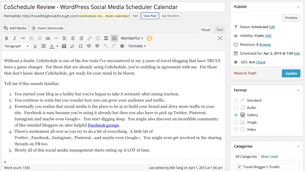 CoSchedule WordPress Post Written