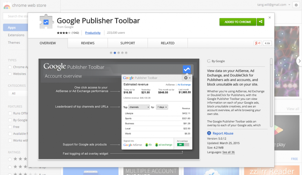 Google Publisher Toolbar Chrome Extension Store