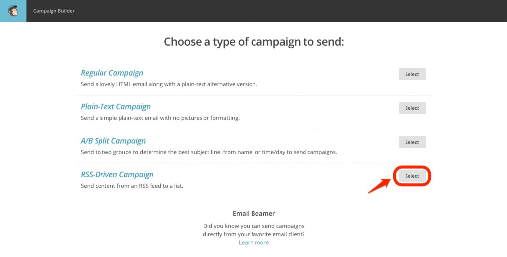 Step 2 - RSS Driven Campaign - Pick type of campaign