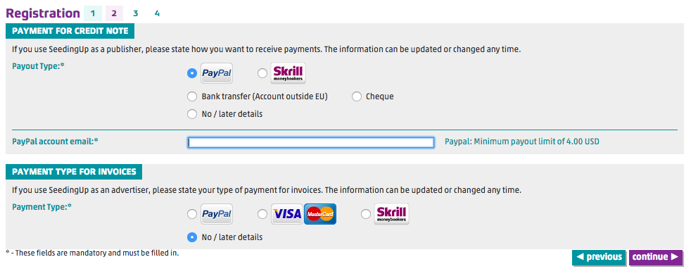 2) Enter your Paypal payment details.
